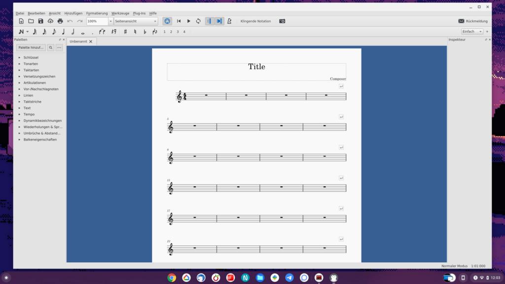 MuseScore Bildschirm