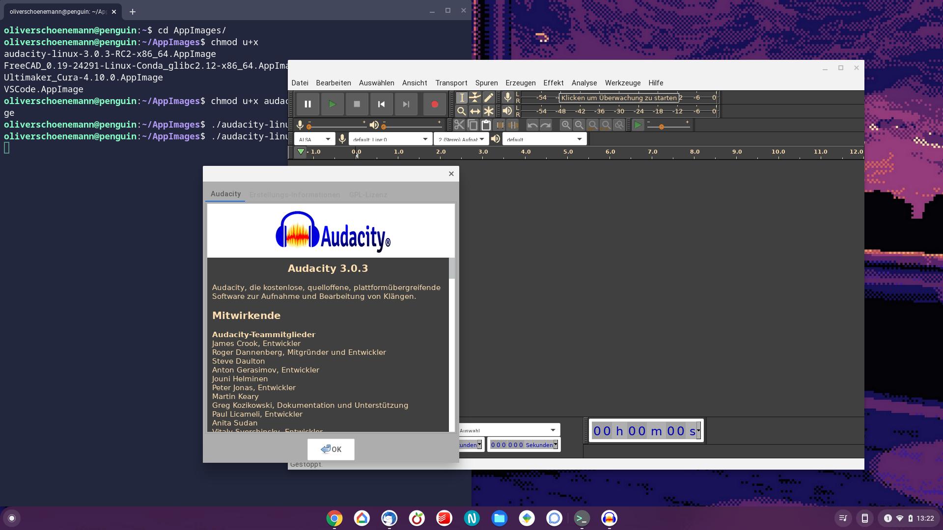 Audacity 3.0.3 RC auf ChromeBook