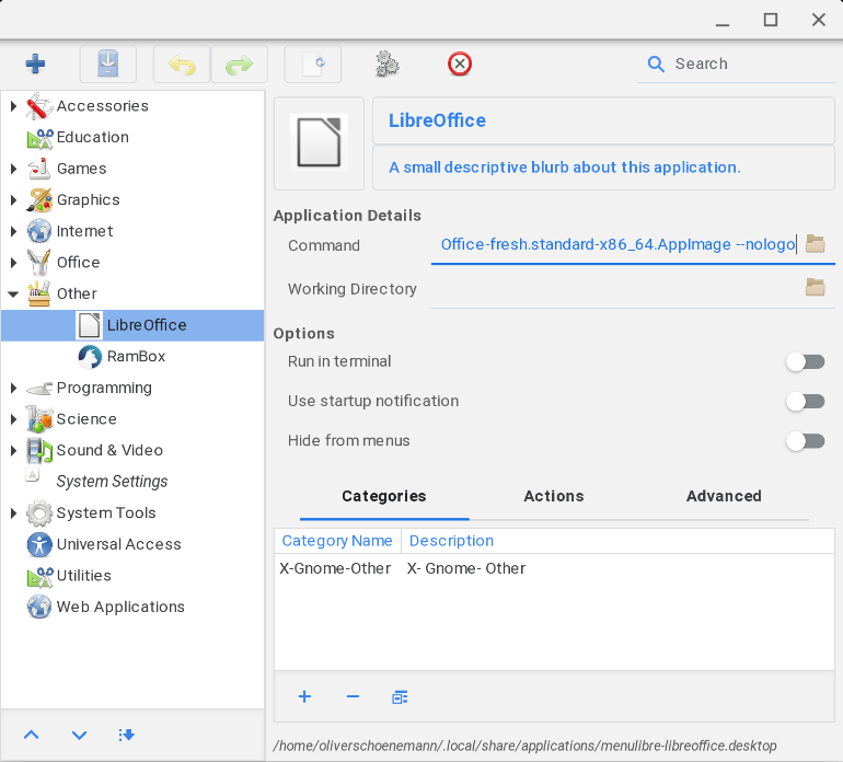 LibreOffice Eintrag mittels menulibre