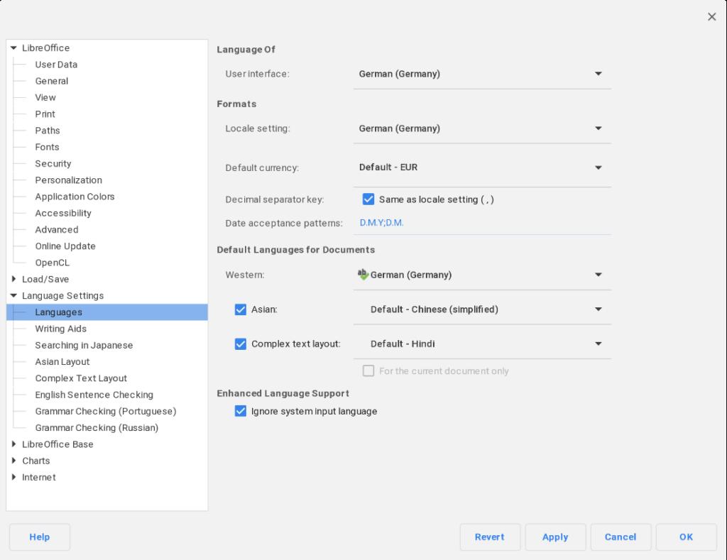 Deutsche Sprachenstellung i LibreOffice