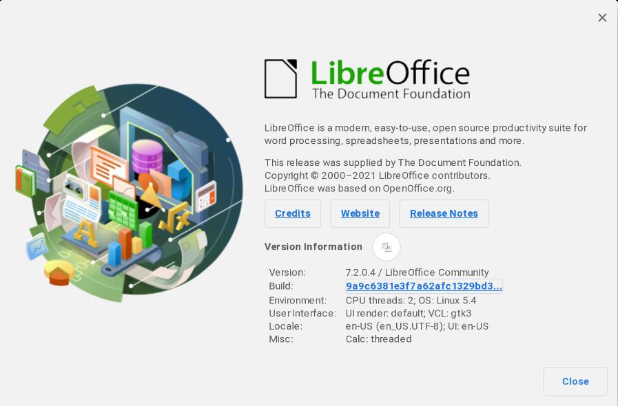 """LibreOffice """"Über"""" Bildschirm"""