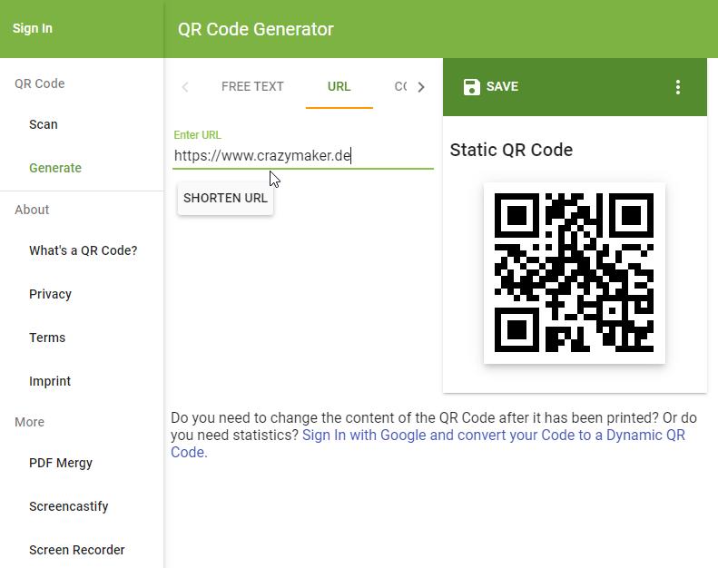 QR Code Generator Progressive Web App